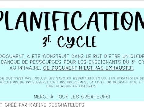 Planification annuelle pour le 3e cycle