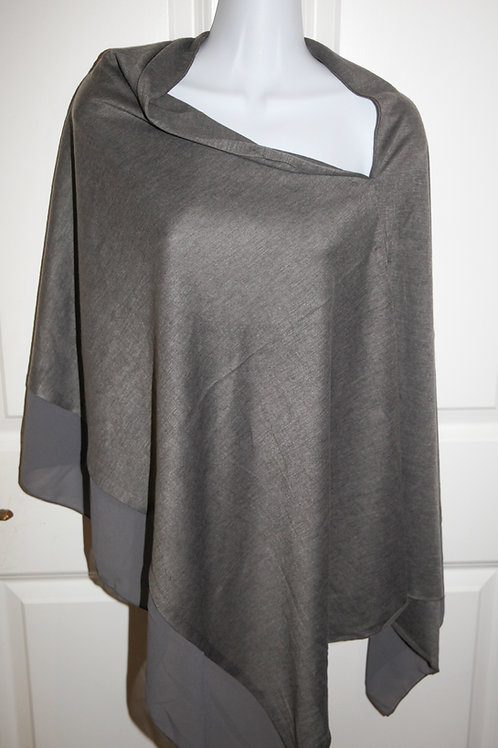 Steel Grey  fine jersey poncho with crepe satin edge one size