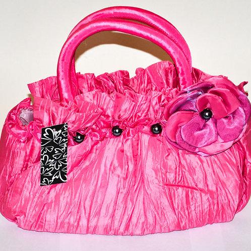Pink Small to medium size taffeta handbag