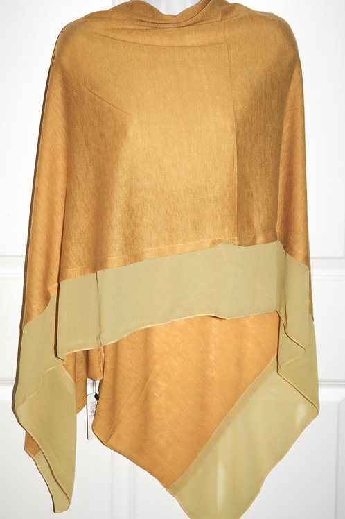 Amber poncho with satin crepe trim