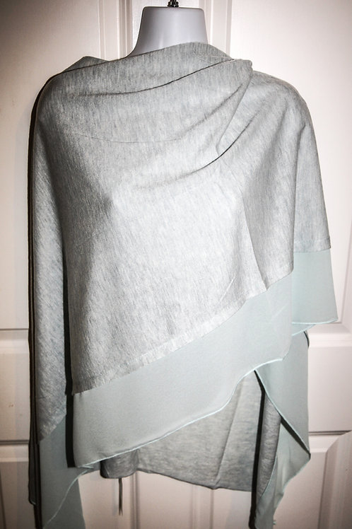 Light Grey poncho with fine jersey crepe trim