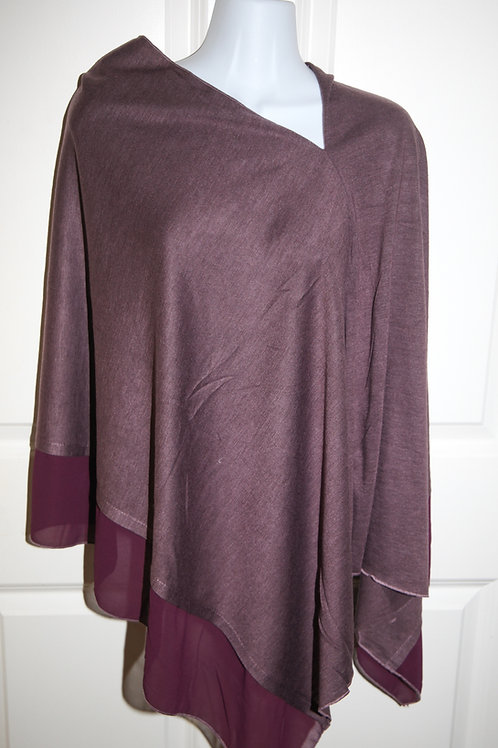 Maroon fine jersey poncho with crepe satin edge one size