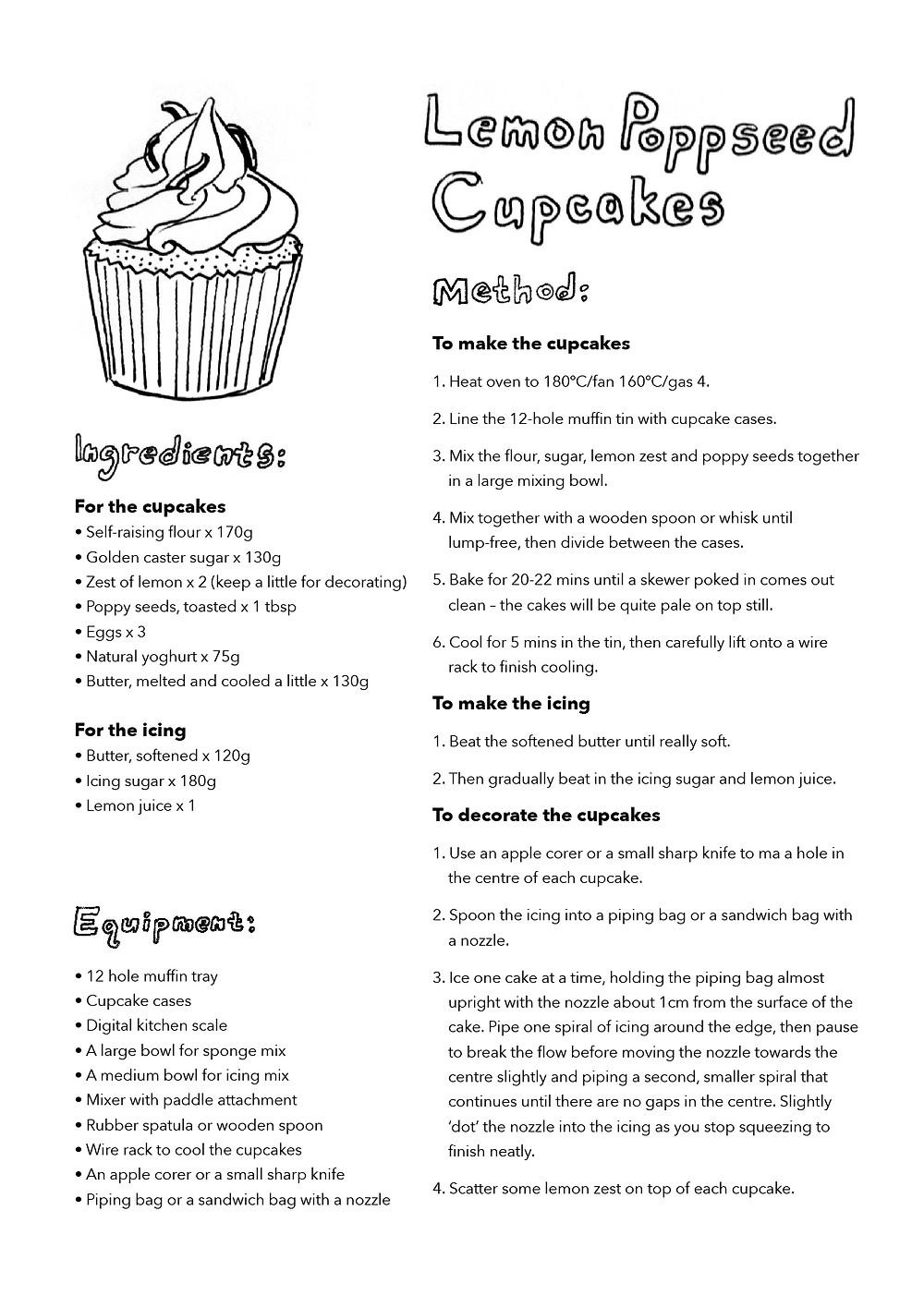 Printable recipe sheet