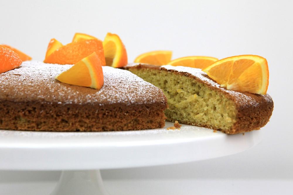 Orange Olive Oil cake cut close up