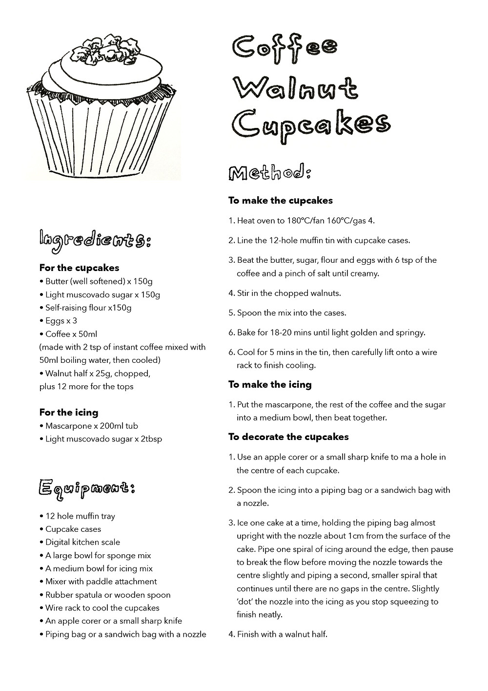 Coffee Walnut cupcakes recipe