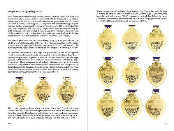 Navy posthumous Purple Heart engraving styles