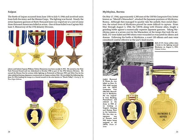 Silver Star Medal, Bronze Star Medal, and Purple Heart earned during the Battle of Saipan on the left, and on the right, a Purple Heart earned while fighting as part of Merrill's Marauders in Myitkyina, Burma