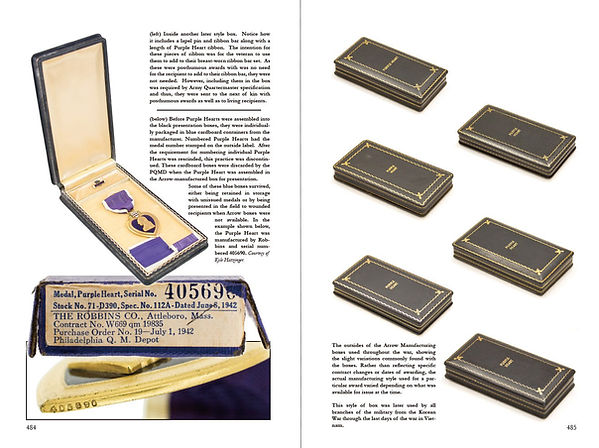 Different examples of coffin boxes and blue boxes and numbered Purple Heart
