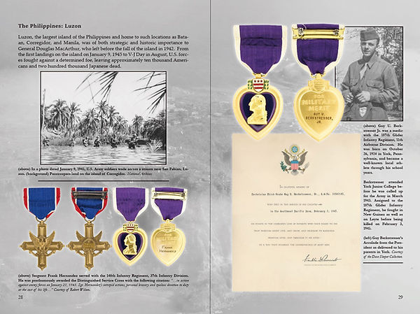 A posthumous Distinguished Service Cross and Purple Heart earned on Luzon as well as a Purple Heart won by a member of the 187th Glider Infantry Regiment, 11th Airborne Division, on Luzon