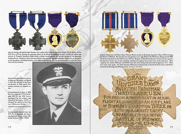 A black widow Navy Cross and Distinguished Flying Cross earned at the Battle of Midway