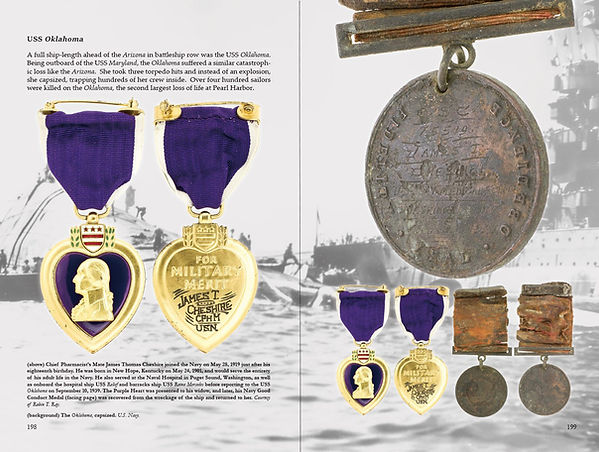 A Purple Heart with the Sailor's Good Conduct Medal from the USS Oklahoma, sunk at Pearl Harbor