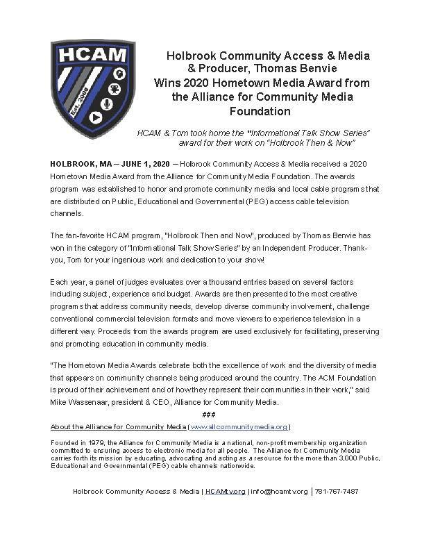 press release - 2020 HMA Award - holbroo