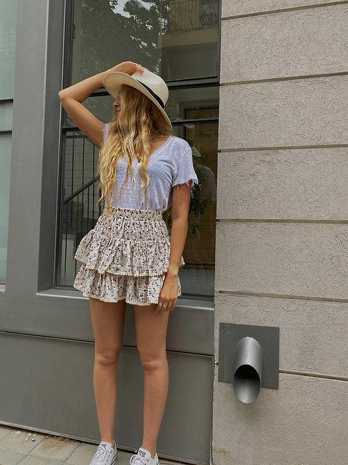 חצאית מכנס פרחוני לבן