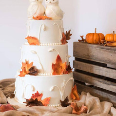 Fall in love!  Hand sculpted owls and gumpaste leaves for a Fall themed wedding.. Love how this one turned out..jpg