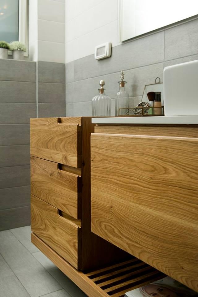 שידת אמבטיה   עץ אלון מבוקע