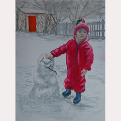 Child's first snowman by Fran