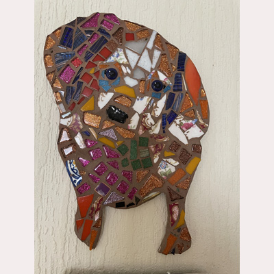 Mosaic dog by Anna