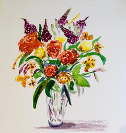 flowers in a glass vase by Dee