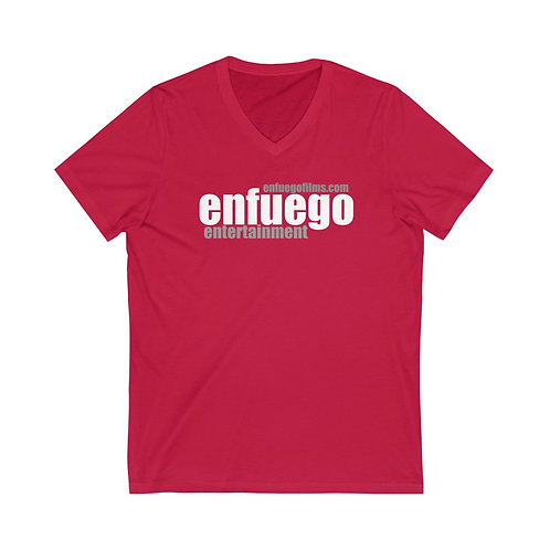 Unisex Jersey Short Sleeve V-Neck Tee (Red and Gray)