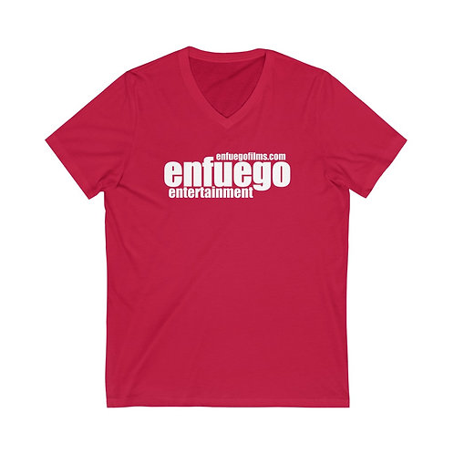 Unisex Jersey Short Sleeve V-Neck Tee (Red and White)