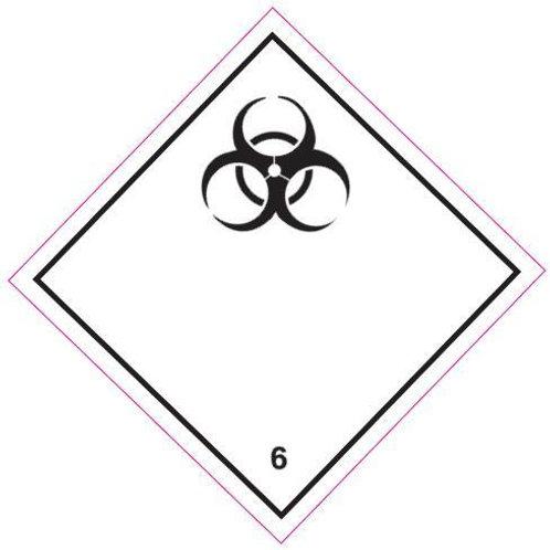 UN Hazard Warning Diamond Class 6.2  - Sticker 250mm x 250mm