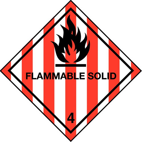 UN Hazard Warning Diamond Class 4.1 - Sticker Roll 100mm x 100mm