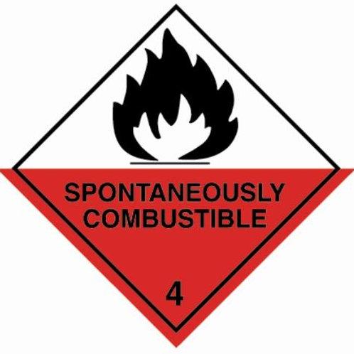 UN Hazard Warning Diamond Class 4.2  - Sticker 250mm x 250mm
