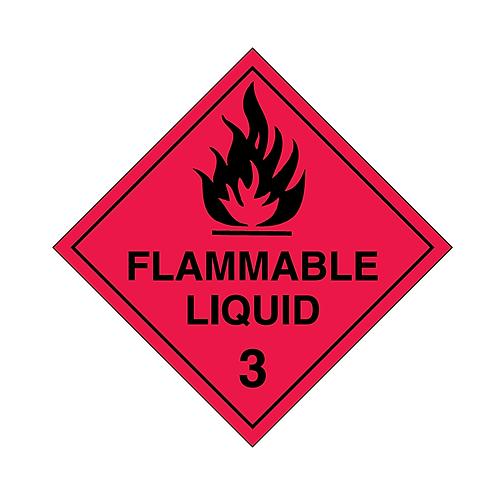 UN Hazard Warning Diamond Class 3 Flammable Liquids - Sticker Roll 100mm x 100mm