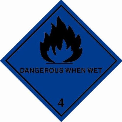 UN Hazard Warning Diamond Class 4.3 Dangerous When Wet  - Sticker 250mm x 250mm