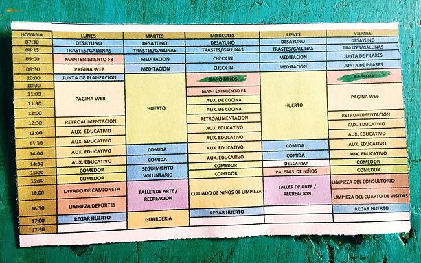 Ejemplo de horario de voluntaria residente