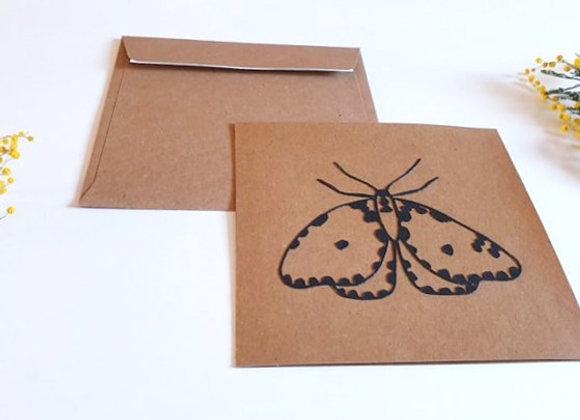 Carte + enveloppe 13.5x13.5cm,Papillon en dentelle,Papier recyclé