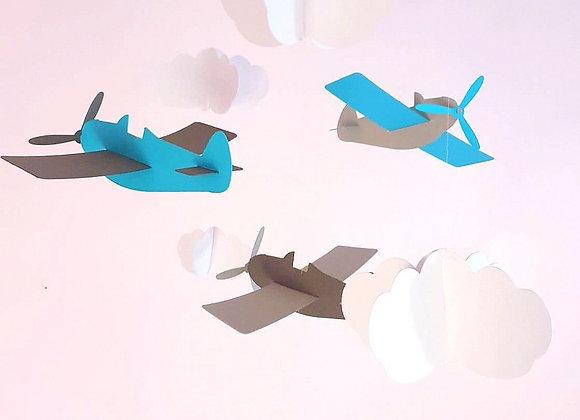 Mobile bébé - Avions gris/bleu et nuages