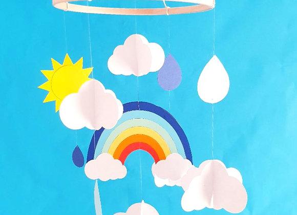 Mobile bébé 20x70cm Arc en ciel nuages en papier épais Eco responsable