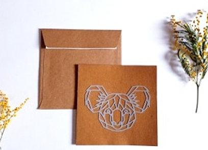 Carte + enveloppe 13.5x13.5cm,Koala en dentelle,Papier recyclé