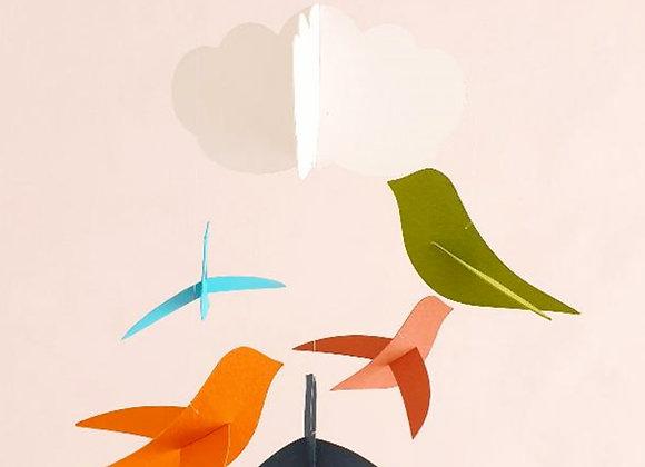 Mobile bébé - 5 oiseaux coloré et nuage sur cercle en bois