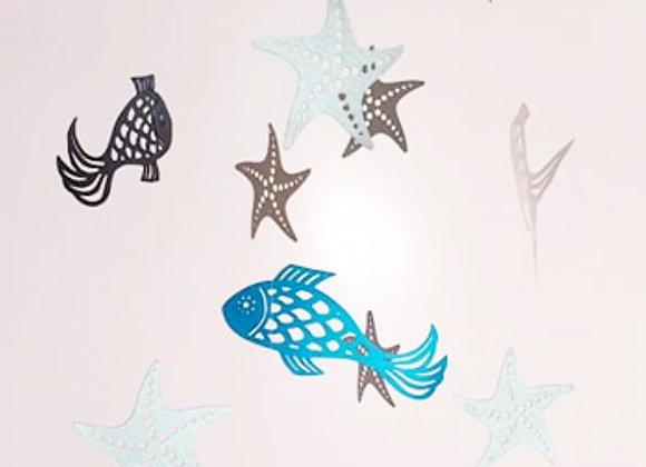 Mobile bébé -  Poissons bleu et étoiles de mer argentées