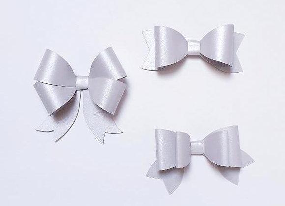3 noeuds en papier argenté,Décoration emballage cadeau