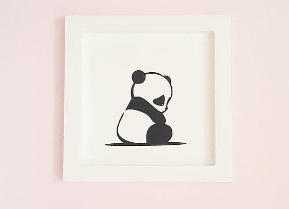 Cadre blanc en bois 25x25cm - Panda noir
