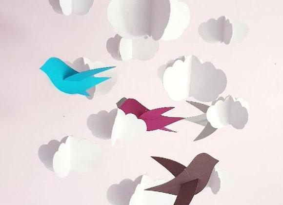 Mobile bébé - Oiseau et nuages et cercle en bois
