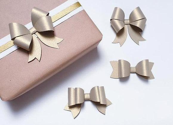 3 noeuds en papier Doré,Décoration emballage cadeau