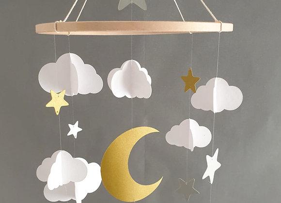 Mobile bébé - Nuages et lune sur cercle en bois 25 cm
