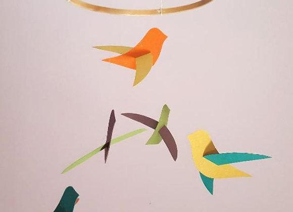 Mobile - 6 oiseaux et son cercle en bois