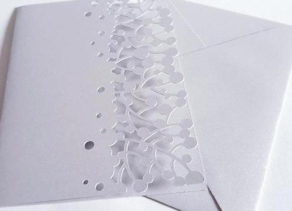 Carte de Voeux Argentée,Carte et Enveloppe 15x10,50cm