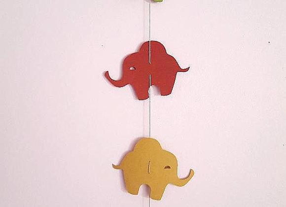 """La guirlande """"Les éléphants"""" en papier cartonné recyclé"""