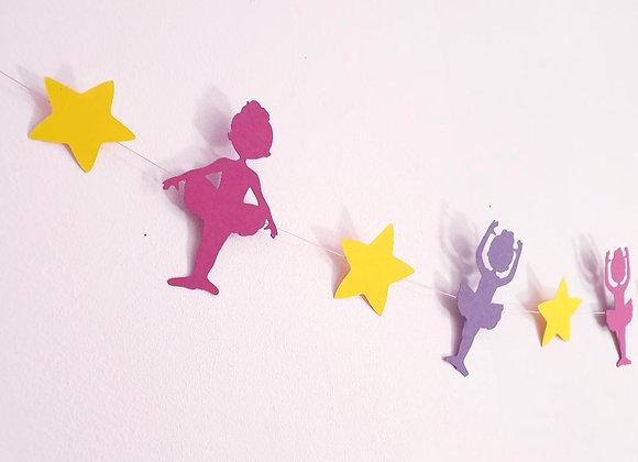 Guirlande déco chambre enfant,Danseuses en papier cartonné recyclé,Fait main