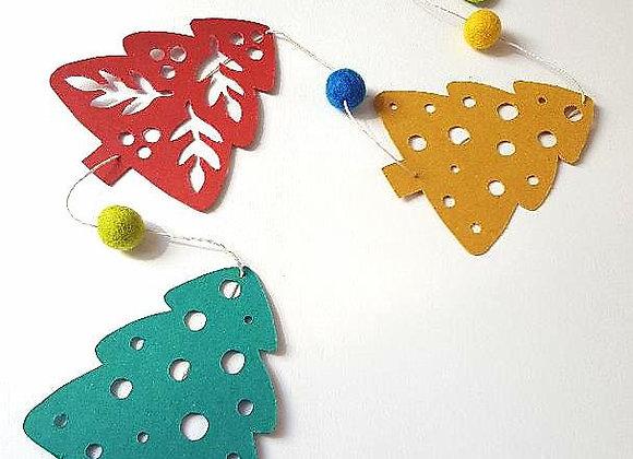 """La guirlande en papier cartonné recyclé""""Les sapins de Noël"""""""
