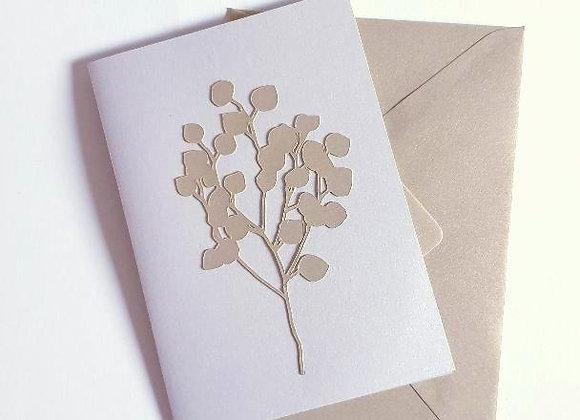 Carte de Voeux,Carte Argentée et Enveloppe Dorée,Brin de Fleurs doré