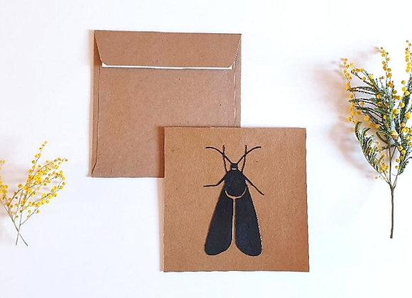 Carte + enveloppe 13.5x13.5cm,Insecte noir,Papier recyclé