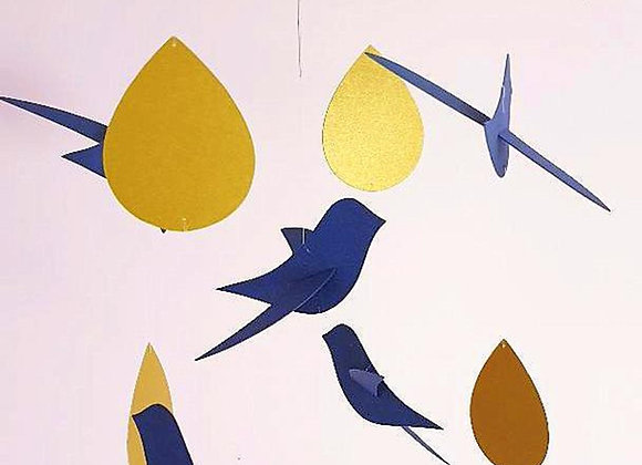 Mobile bébé - Oiseaux bleu et gouttes or