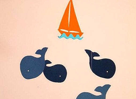 Mobile et ses baleines en papier recyclé et son cercle en bois